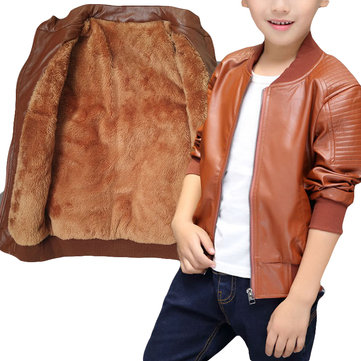 Espesar Fleece Boys Leather Jacket 2-15Y