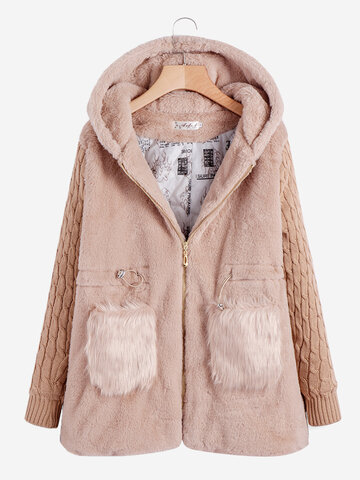 Long Sleeve Fall Winter Casual Hooded Coat