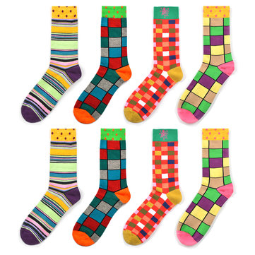 Unisex Classic Geometric Plaid Striped Cotton Tube Socks