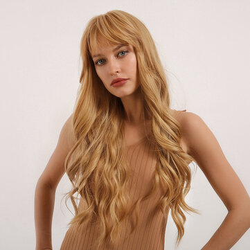 28 Inch Gold Long Curly Wigs