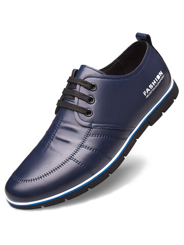 Men Leather Non Slip Soft Casual Driving Shoes
