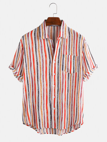 Color Striped Breathable Short Sleeve Shirts