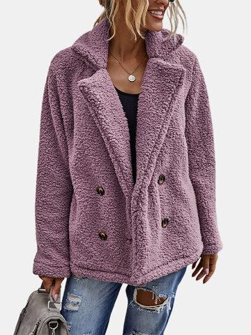 Abrigo de manga larga de color liso