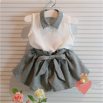 2Pcs Chiffon Girls Outfits Clothes Set For 1Y-9Y