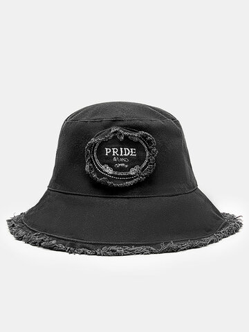 Unisex Letter Embroidery Patch Bucket Hat