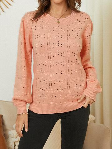 Однотонный свитер с длинными рукавами и полыми рукавами