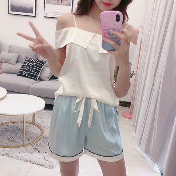 Order New Short-sleeved Shorts One-shoulder Lapels Two-piece Striped Silk Print Pajamas Women's Home Service, White and green shoulder