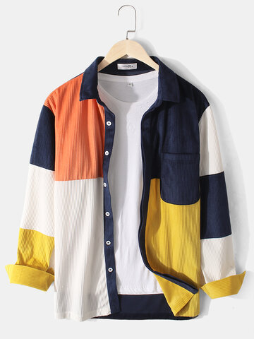 Multi-Color Block Corduroy Shirts
