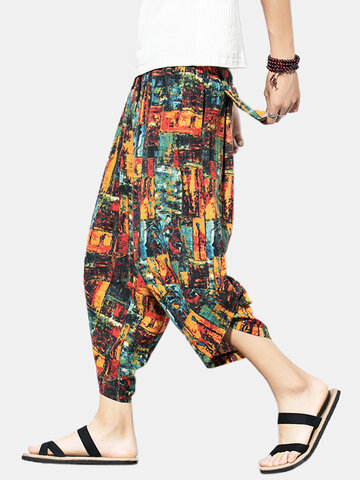 95% Cotton Color Block Hit Color Calf-Length Harem Pants