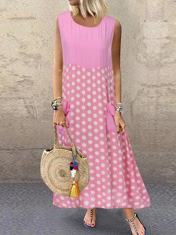 Polka Dot Patchwork Irregular Dress