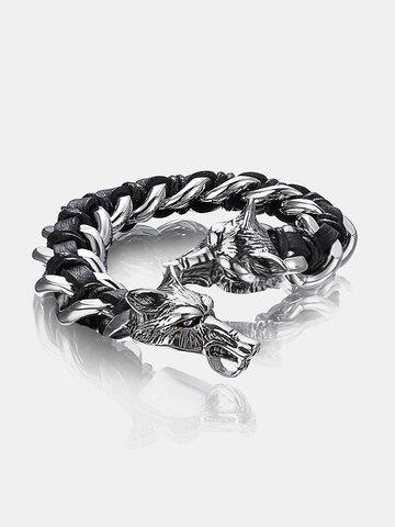 Wolf Head Leather Bracelet