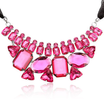 Geometry Big Crystal Ribbon Chain Chunky Necklace
