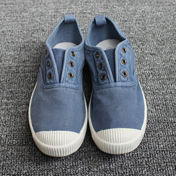 Breathable Slip On Casual Canvas Shoes, Blue grey