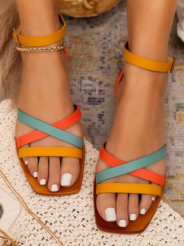 Colorful Buckle Stripe Flat Sandals