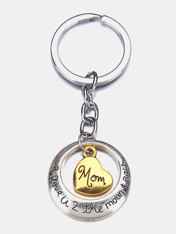Heart Family Mom Dad Daughter Son KeyChain