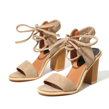 Strappy Sexy Open Toe Chunky Heel Sandals