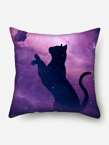 Cat And Butterfly Pattern Linen Cushion Cover Home Sofa Art Decor Throw Pillowcase