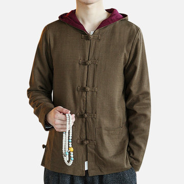 Chinese Style Linen Blend Hooded Jacket