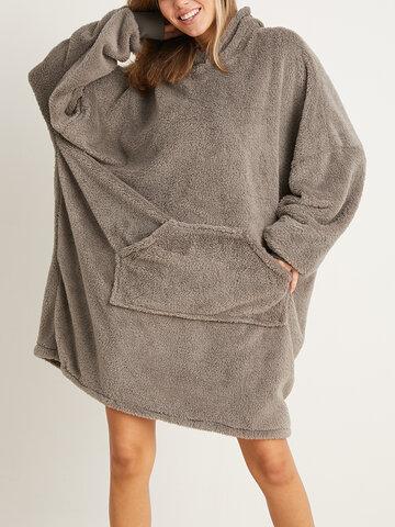 Носимое одеяло большого размера с двойным плюшем Толстовка с капюшоном