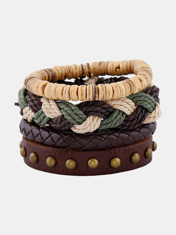 Woven Leather Braided Beaded Bracelets