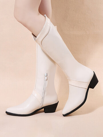 Pointed Toe Low Heel Riding Boots