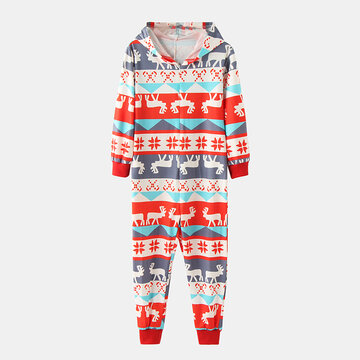 Kid's Elk Christmas Print Pajama Set For 2-8Y