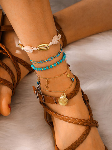 Shell Woven Multi-layer Anklet