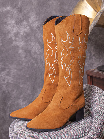 Slip-On Pointed Toe Stitched Cowboy Boots
