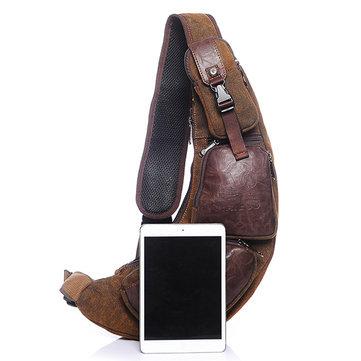 Herren Brusttasche aus Segeltuch lunular Schultertasche mit Flickarbeit Umhängetasche im Retrostil