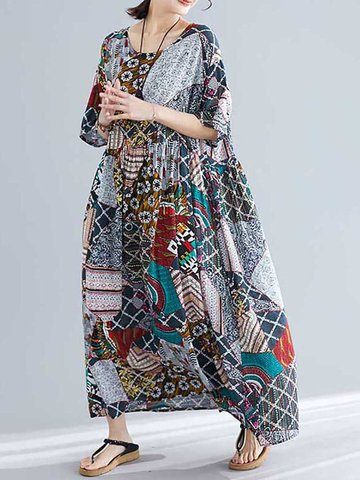 Summer Ethnic Print Elastic Waist Dress