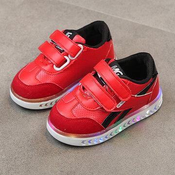 Boys LED Hook Loop Casual Shoes