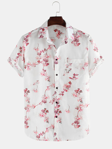 Flowers Printed Short Sleeve Lapel Shirt