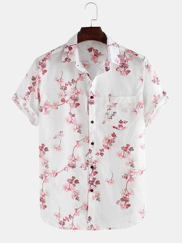 Flowers Printed Short Sleeve Lapel Shirt