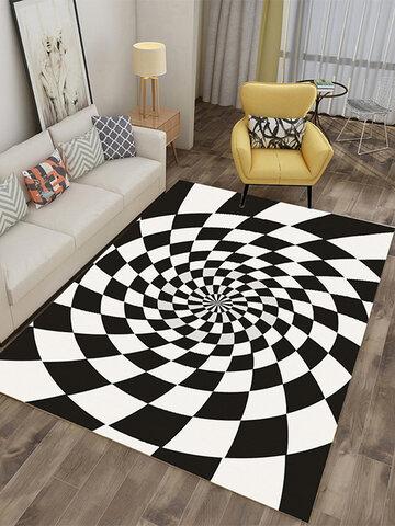 Checkered Optical Illusions Non Slip Area Rug, Durbale Anti-Slip Floor Mat Non-Woven Black White Doormat, for Living Dinning Room Bedroom Kitchen