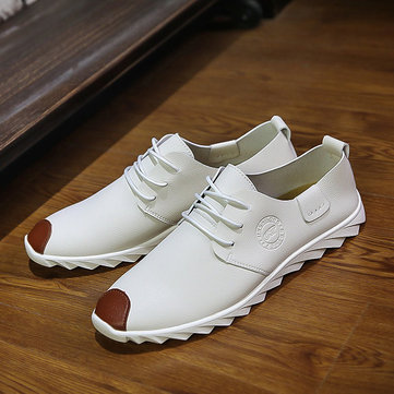 Men Cap Toe Pure Color Casual Shoes