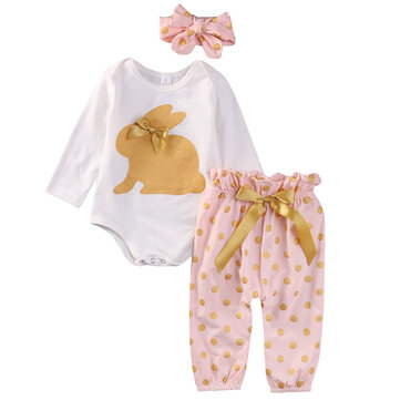 3Pcs Rabbit Printed Girls Romper Set For 0-24 Months