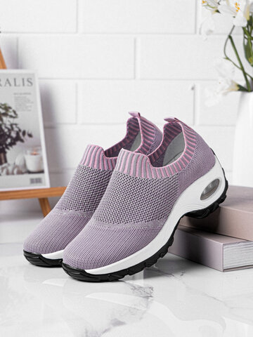 Knitted Fabric Breathable Dance Platform Sneakers