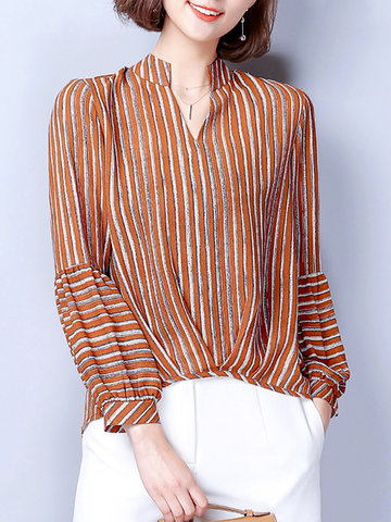 Chiffon Stripe Irregular Women Bluses