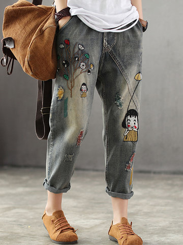 Vintage Embroideried Elastic Waist Denim