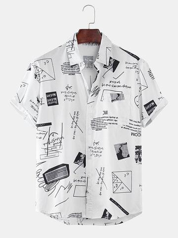 Abstract Cartoon Slogan Short Sleeve Shirts