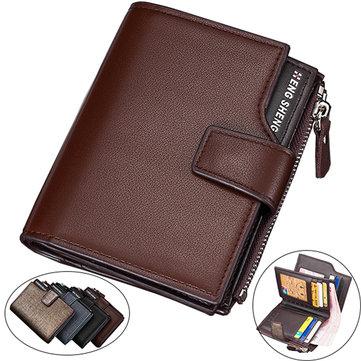 14 Card Slots Men PU Leather Minimalist Vertical Wallet