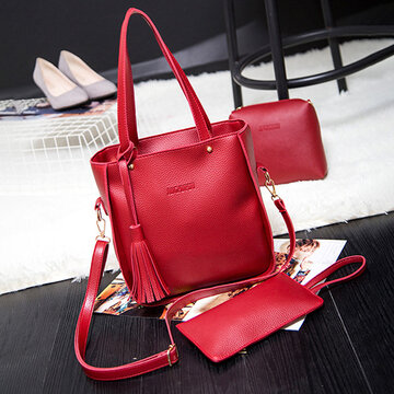3 PCS Women PU Leather Crossbody Bag