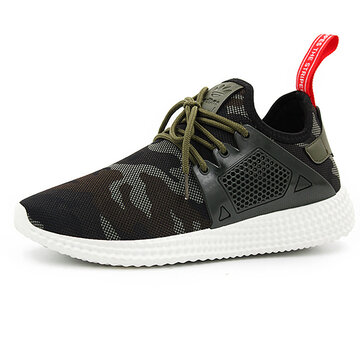 Men Camouflage Pattern Breathable Lace Up Casual Sneakers, Green