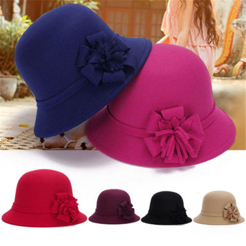 Women Vintage Flower Felt Bucket Cap