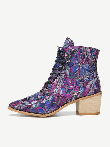 Embroidered Short Boots