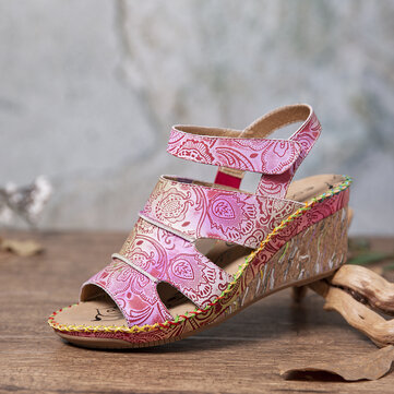 Leather Slingback Wedge Sandals