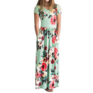 Girls Casual Floral Maxi Dress For 1-11Y