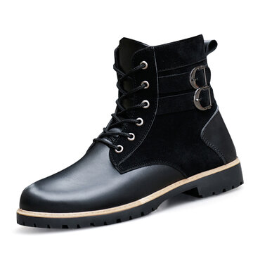 Men Work Style High Top Motorcycle Boots