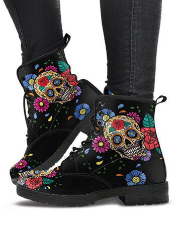 Halloween Colorful Skull & Flowers Pattern Boots