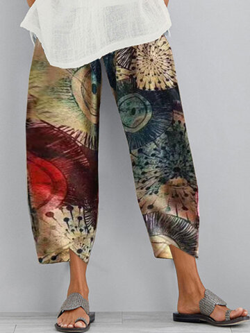 Casual Print elastische Taille Hosen
